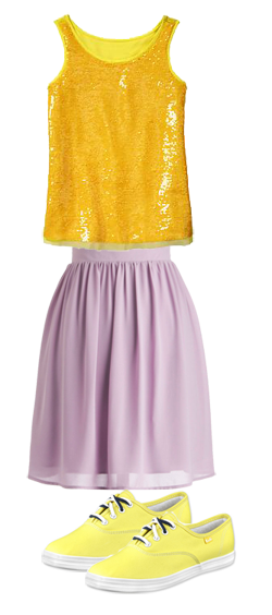 Lemon keds with lemon tank and lavender skirt